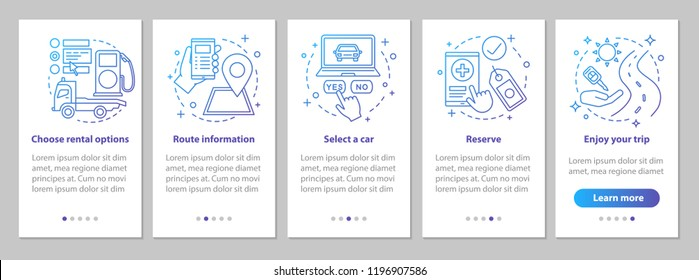 Car rental onboarding mobile app page screen with linear concepts. Rent a car. Carpooling. Automobile leasing steps graphic instructions. UX, UI, GUI vector template with illustrations