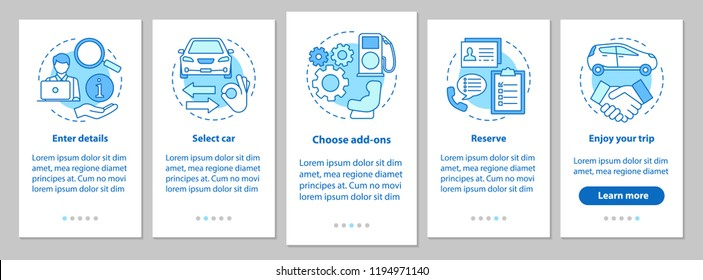 Car rental service onboarding mobile app page screen with linear concepts. Auto leasing steps graphic instructions. Rent a car. UX, UI, GUI vector template with illustrations