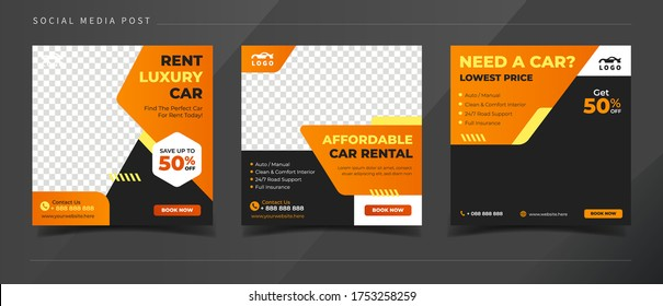 Car rental square banner for social media post template