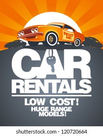 Car rentals design template with retro car.