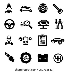 Car repair auto vehicle mechanic service icons black isolated vector illustration