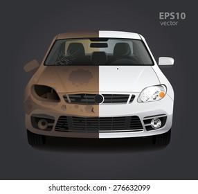 Imágenes, fotos de stock y vectores sobre Carros Chocados De