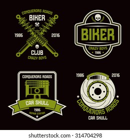 Car repair and biker club emblems. Graphic design elements for t-shirt. Color print on black background