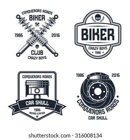Car repair and biker club emblems. Graphic design for t-shirt. Black print on white background