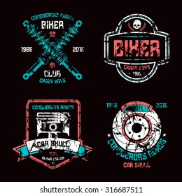 Car repair and biker club emblems. Graphic design elements with shabby texture for t-shirt. Color print on black background