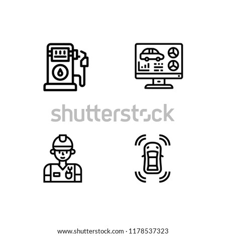 car repair components outline lineal icon stock vector royalty free