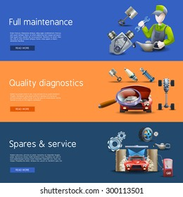 Car repair and diagnostics cartoon horizontal banners set with wash and gas isolated vector illustration