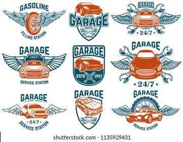 Car repair, garage, auto service emblems. Design elements for logo, label, sign. Vector image