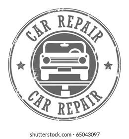Car repair grunge stamp, vector illustration