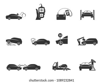 Car repair icons in black and white. Automotive vehicle maintenance service. Vector illustrations.