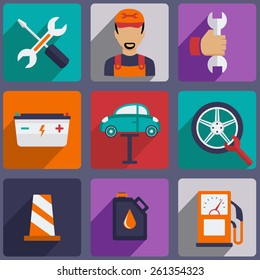 Car repair icons set with mechanic service and garage tools vector illustration