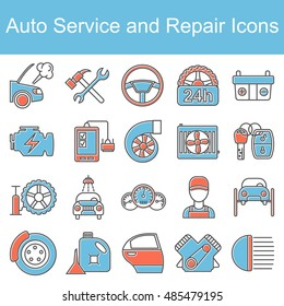 Car repair icons. Vector illustration