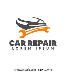 Car repair logo. Car icon. Auto repair logo. Auto silhouette vector emblem, badges. Car Service logo. Tools icon. Wrench icon.