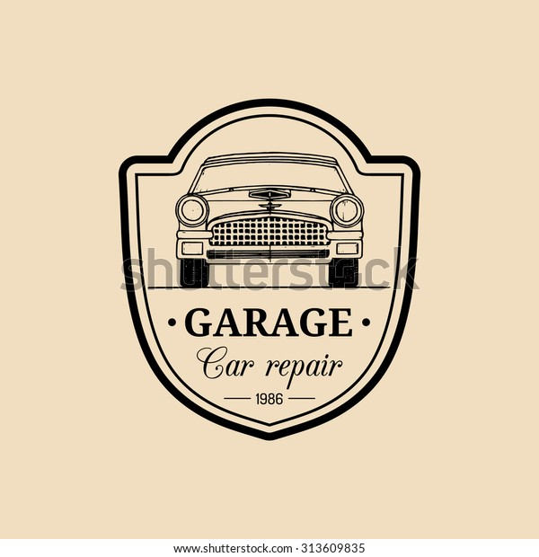 Car Repair Logo Retro Automobile Illustration Stock Vector