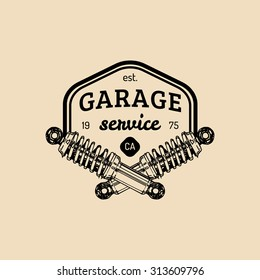 Car repair logo with shock absorbers illustration. Vector vintage hand drawn garage, auto service advertising poster, card etc.