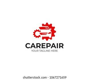 Car repair logo template. Car repairing vector design. Automobile and gear logotype