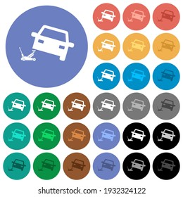 Car repair multi colored flat icons on round backgrounds. Included white, light and dark icon variations for hover and active status effects, and bonus shades.