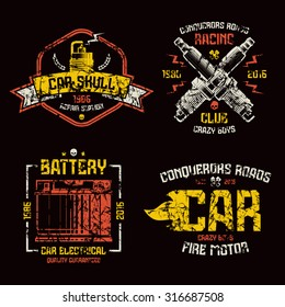 Car repair and racing emblems. Graphic design elements with shabby texture for t-shirt. Color print on black background