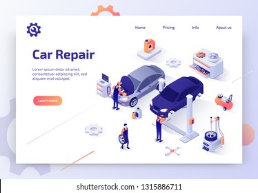Car Repair Service, Auto Diagnostic, Maintenance Station Isometric Vector Web Banner. Skilled Automotive Technicians Repairing Cars in Workshop Illustration. Automobile Spare Parts Store Landing Page