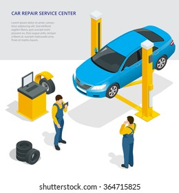 Car repair service center.  Flat 3d isometric vector illustration. Isometric car.