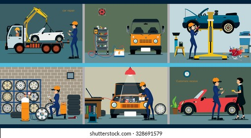Car repair service center with the various departments.