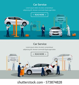 Car repair service, flat horizontal banner, different workers in the process of repairing the car, tire service, diagnostics, vehicle painting, window replacement spare parts. Vector illustrationn