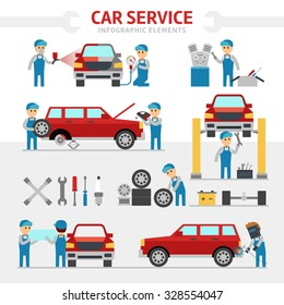 Car repair service flat vector illustration. Infographic elements. People repairing cars and make tuning. Changing a wheel, painting, glass replacement vector.