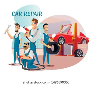 Car Repair Service Professional Team Presentation. Happy Smiling Cartoon Repairmen, Mechanics Characters in Uniform Standing with Tools and Tire in Hands. Vector Flat Cutout Illustration