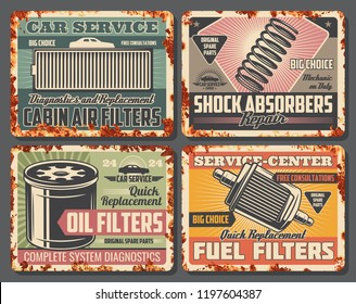 Car repair service retro cards covered with rust. Cabin air and fuel or oil filters, shock absorbers for vehicle, garage fixing posters. Auto parts replacement and automobile repairing vector icons