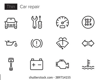 Car repair and service Vector icons set Thin line outline