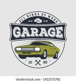 Car repair service, vintage Logo design concept with classic retro car. Vector illustration