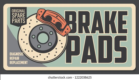 Car repair service vintage poster with brake pads. Original auto parts shop retro signboard. Restoration and broken details replacement, diagnostic of vehicle internal mechanism, garage station vector