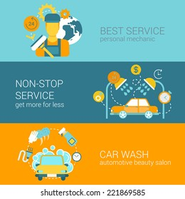 Car repair service and wash flat style modern design vector illustration web infographics banner template icon set collection. Mechanic non-stop full service car wash.