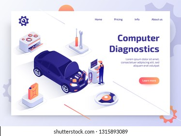 Car Repair Shop, Auto Dealer Service, Vehicle Maintenance Station Isometric Vector Web Banner with Qualified Automotive Technician Making Computer Diagnostics of Automobile Engine Systems Illustration
