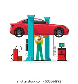 Car repair shop station vector illustration, flat style repairman working under lifted auto vehicle using diagnostics tools equipment, mechanic man repairing automobile in workshop garage