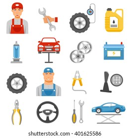 Car repair shop tools and accessories and auto service mechanic flat icons set abstract isolated vector illustration