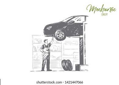 Car repair shop, vehicle workshop, young mechanic in overalls, faceless repairman, handyman fixing auto. Professional automobile maintenance service concept sketch. Hand drawn vector illustration