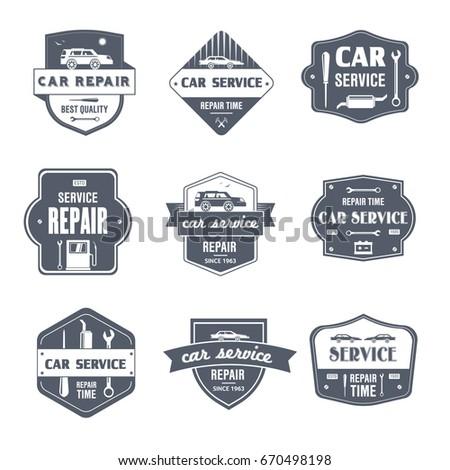 car repair vector set vintage template stock vector royalty free
