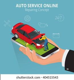 Car repairing concept. Auto service online. Flat 3d isometric vector illustration.