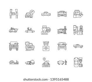 Car resale line icons, signs, vector set, outline illustration concept