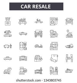Car resale line icons for web and mobile design. Editable stroke signs. Car resale  outline concept illustrations