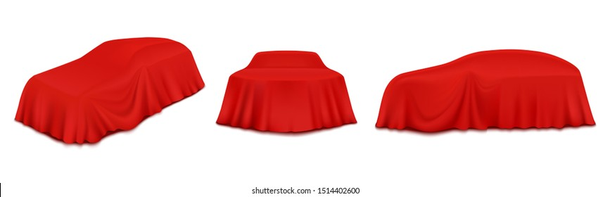 Car reveal curtain, vector illustration isolated on white background. Automobile covered with realistic red silk, velvet fabric. New car model presentation, auto show.