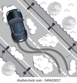 The car rides on a slippery road. View from above. Vector illustration.