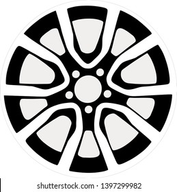 Car rim icon isolated on white background. Wheel symbol in flat style. Car element Vector illustration for web and mobile design.