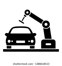 Car robot factory icon. Simple illustration of car robot factory vector icon for web design isolated on white background