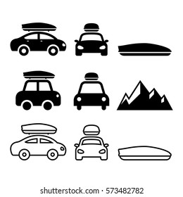 Car roof box, rack or carrier vector icons set