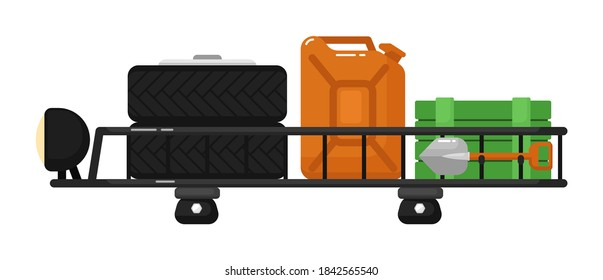 Car roof rack in filled with canister, tyre, spade, crate