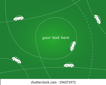 Car routes on green field. Vector illustration for you design.