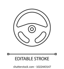 Car rudder linear icon. Thin line illustration. Steering wheel. Contour symbol. Vector isolated outline drawing. Editable stroke