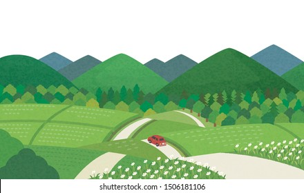 A car is running on a country road in Japan